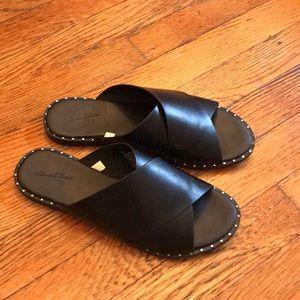 Black comfy sandals, lightly worn